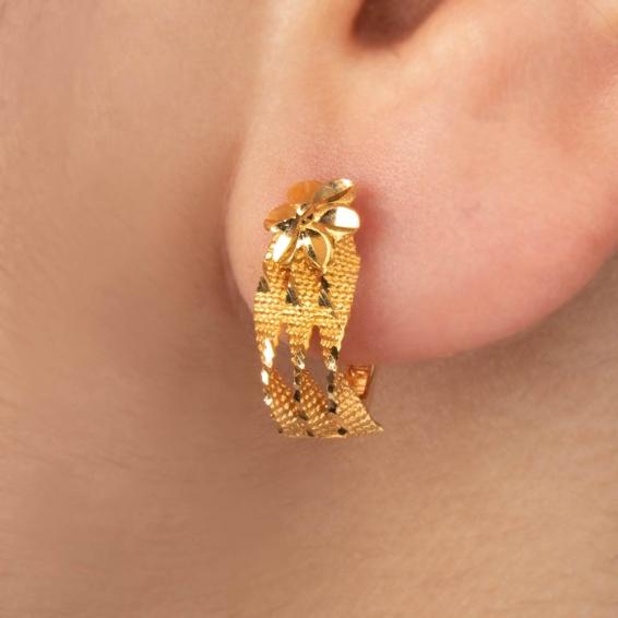 Mücevher Dünyası - 22 Ayar Altın Trabzon Hasır Küpe - 3,55 Gr.