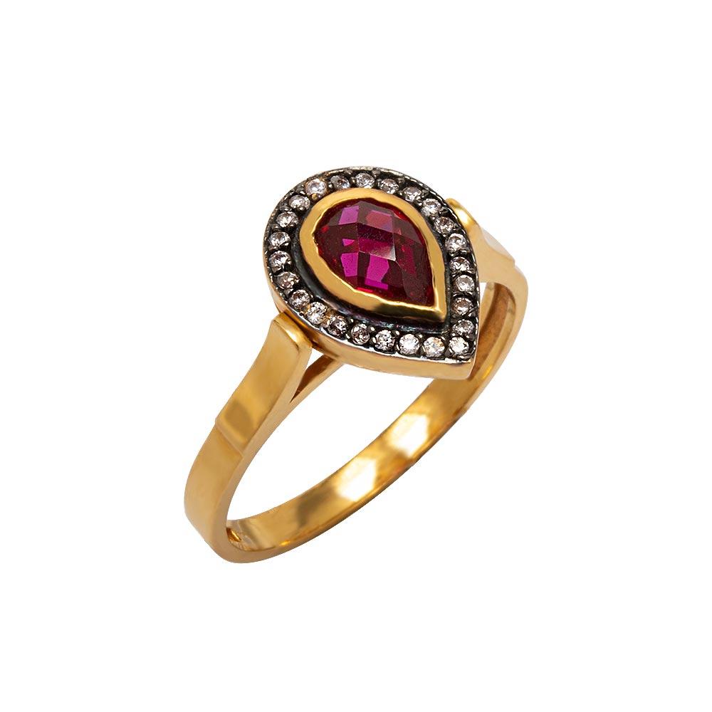 Mücevher Dünyası - 22 Ayar Ametist Taşlı Damla Fantezi Altın Yüzük- 4.40 Gr.