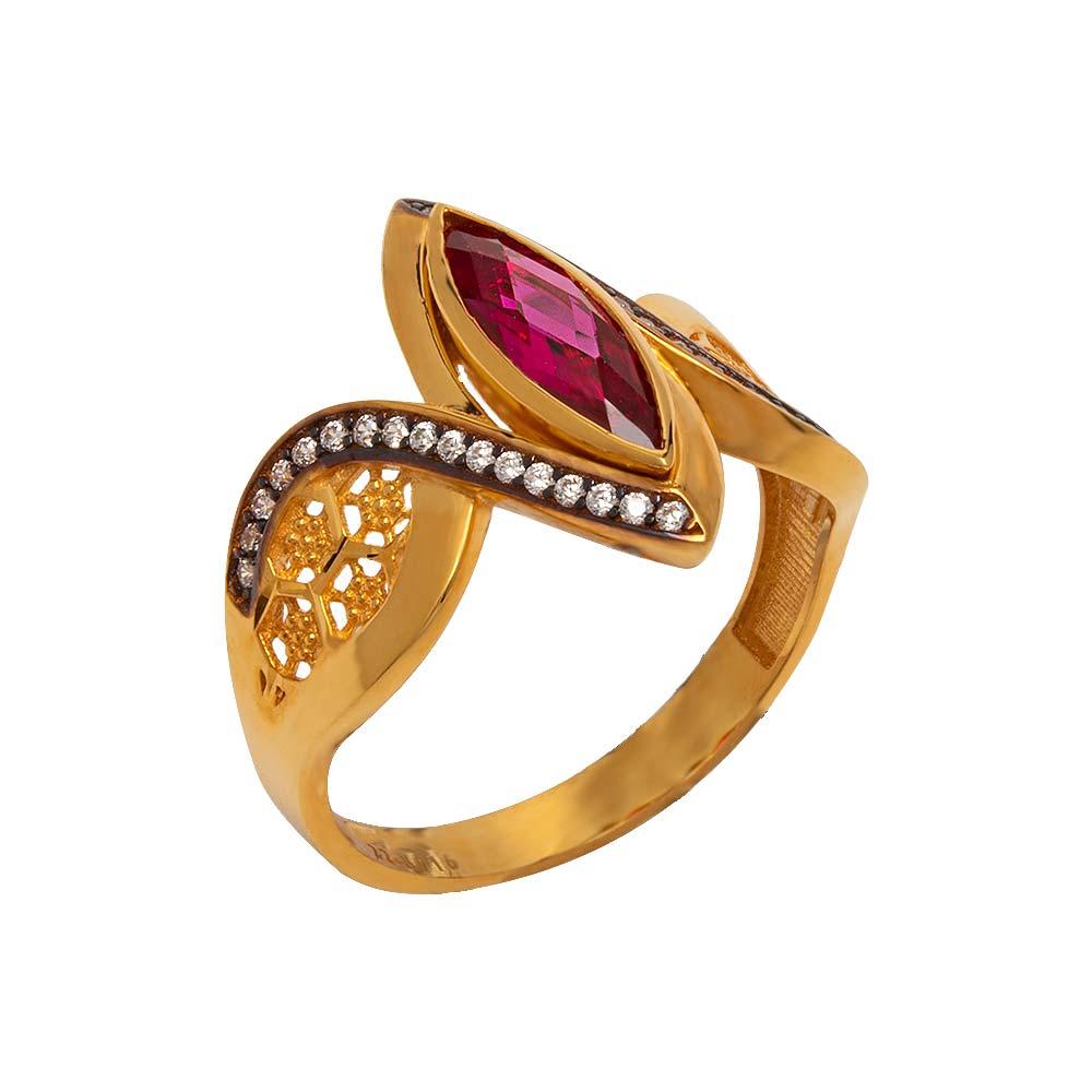Mücevher Dünyası - 22 Ayar Taşlı Mekik Fantezi Altın Yüzük - 5.39 Gr.