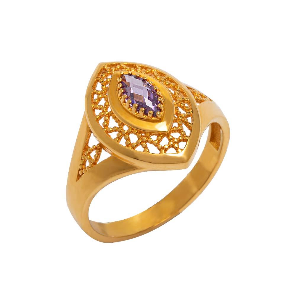 Mücevher Dünyası - 22 Ayar Ametist Taşlı Mekik Fantezi Altın Yüzük - 4.80 gr.