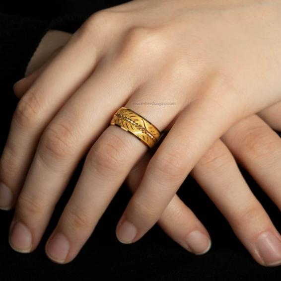 Mücevher Dünyası - 22 Ayar Başak Desenli Kadın Altın Alyans - 4,10 Gr. - 13