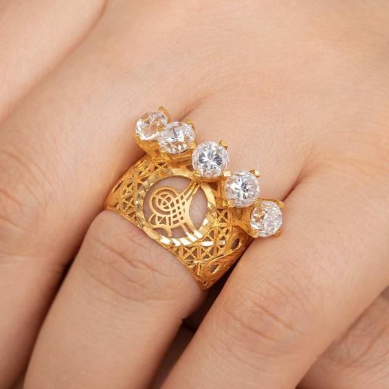 Mücevher Dünyası - 22 Ayar Beştaşlı Tuğralı Alyans Altın Yüzük - 7,7 Gr. - 17