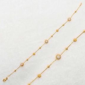Mücevher Dünyası - 22 Ayar Beyaz Taşlı Toplu Dorika Altın Bileklik | Mücevher Dünyası