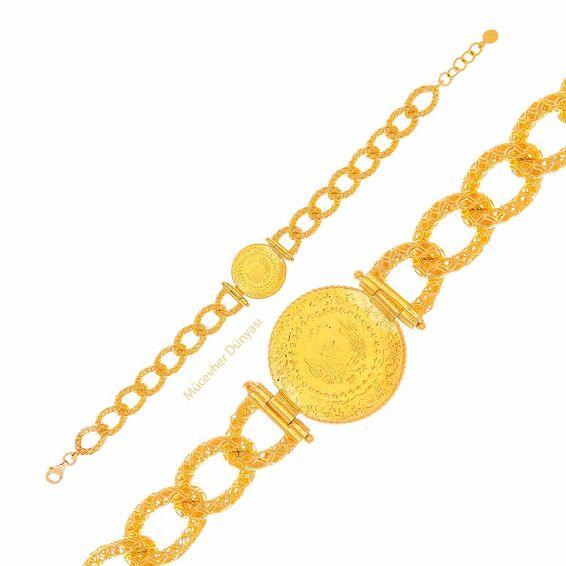 Mücevher Dünyası - 22 Ayar Çeyrek Tasarım Altın Bileklik - 13,35 Gr.