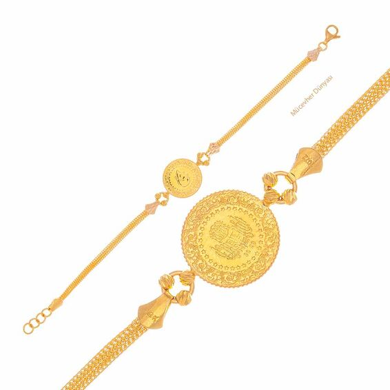 Mücevher Dünyası - 22 Ayar Çeyrekli Dorika Toplu Altın Bileklik - 7,55 Gr.