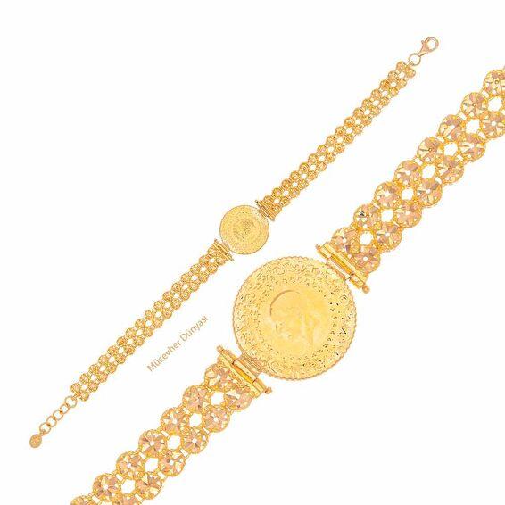 Mücevher Dünyası - 22 Ayar Çeyrekli İşlemeli Altın Bileklik - 16,36 Gr.