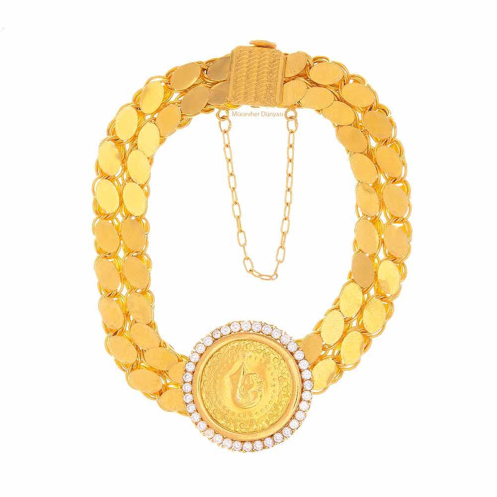 Mücevher Dünyası - 22 Ayar Çeyrekli Taşlı Maraş Kordonu Altın Bileklik - 23,66 Gr.