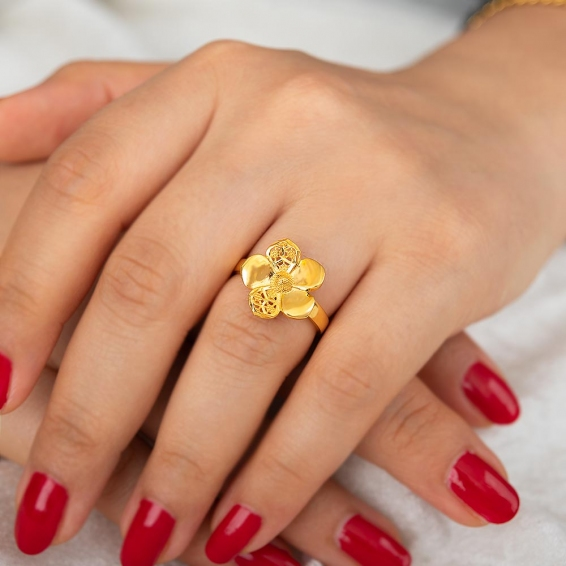 Mücevher Dünyası - 22 Ayar Çiçek Altın Fantezi Yüzük - 3,77 Gr. - 17