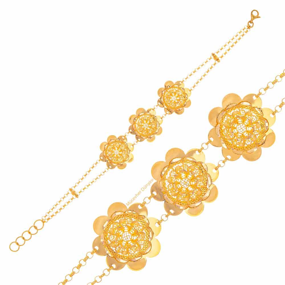 Mücevher Dünyası - 22 Ayar Çiçek Desenli Altın Bileklik - 11,61 Gr.
