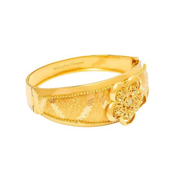 Mücevher Dünyası - 22 Ayar Çiçek Desenli Altın Kelepçe - 30,21 Gr.