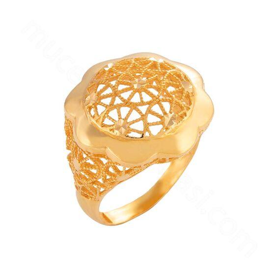 Mücevher Dünyası - 22 Ayar Çiçek Desenli Altın Yüzük - 7,39 Gr.