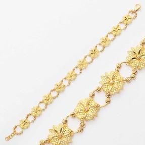 Mücevher Dünyası - 22 Ayar Çiçek Desenli Dorika Altın Bileklik | Mücevher Dünyası