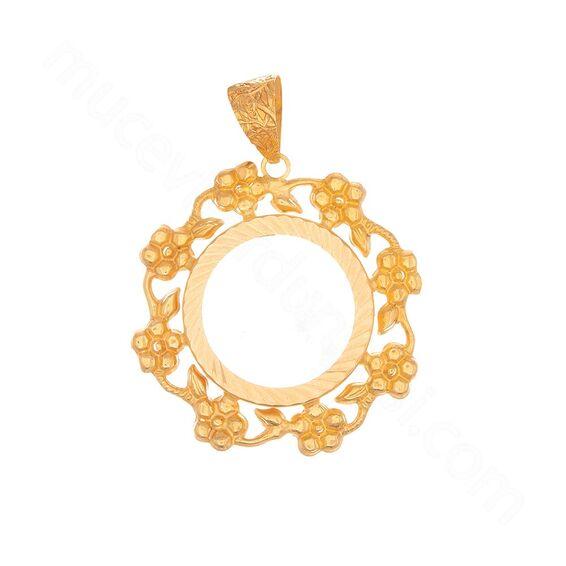 Mücevher Dünyası - 22 Ayar Çiçekli Halka Altın Kolye Ucu - 1,83 Gr.