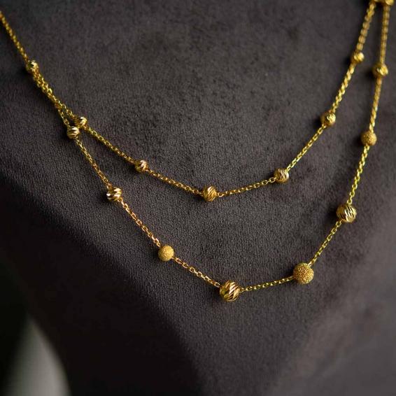 Mücevher Dünyası - 22 Ayar Çift Sıra Dorika Toplu Altın Kolye - 4,48 Gr.