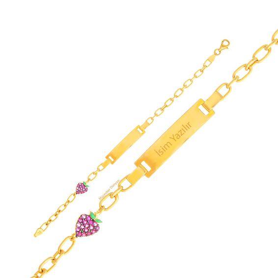 Mücevher Dünyası - 22 Ayar Çilekli Çocuk Altın Künye - 4,09 Gr.