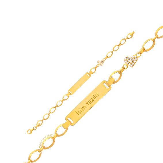 Mücevher Dünyası - 22 Ayar Taşlı Kalpli Çocuk Altın Künye - 4,15 Gr.