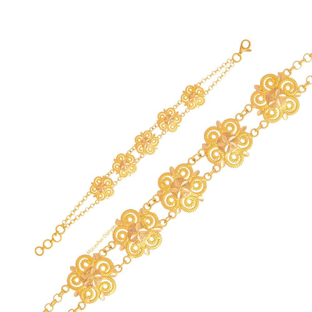 Mücevher Dünyası - 22 Ayar Çocuklar İçin Desenli Altın Bileklik - 6,55 Gr.