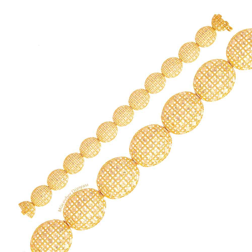 Mücevher Dünyası - 22 Ayar Desenli Altın Bileklik - 26,46 Gr.