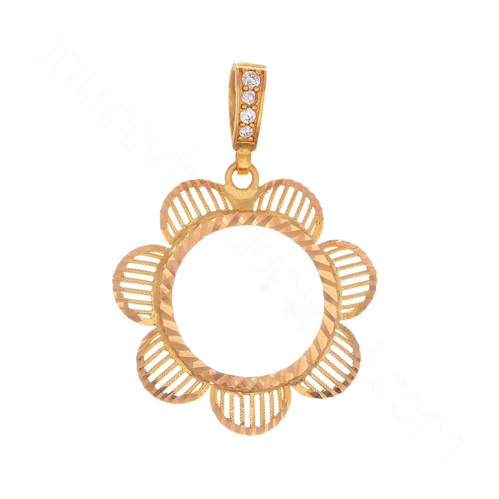 Mücevher Dünyası - 22 Ayar Desenli Altın Kolye Ucu - 3,55 Gr.