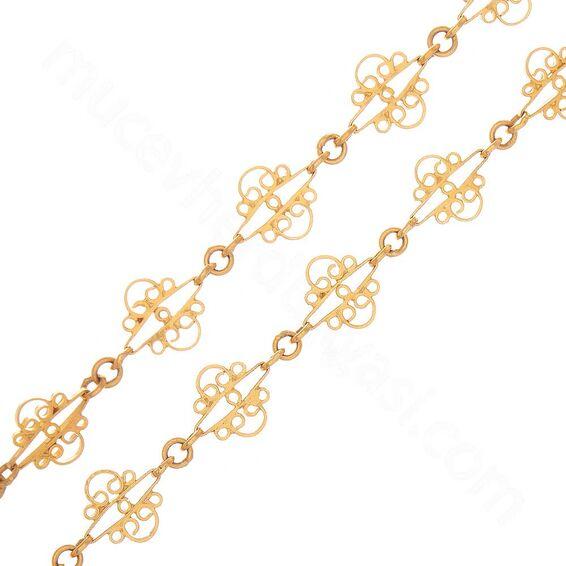 Mücevher Dünyası - 22 Ayar Desenli Altın Zincir - 104 Cm - 45,99 Gr.