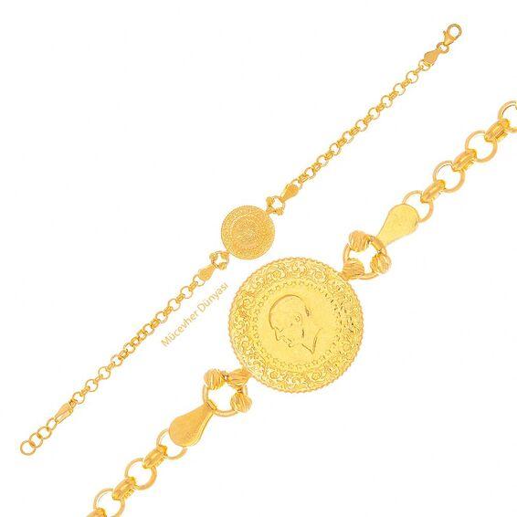 Mücevher Dünyası - 22 Ayar Desenli Çeyrekli Altın Bileklik - 7,56 Gr.