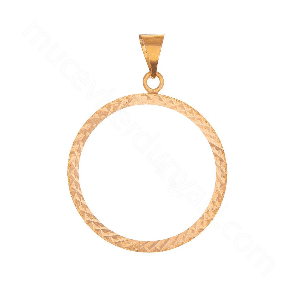Mücevher Dünyası - 22 Ayar Desenli Halka Altın Kolye Ucu - 2,61 Gr.