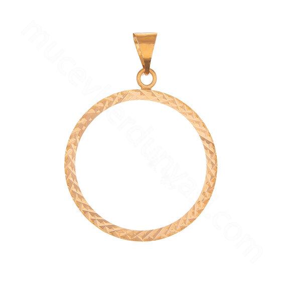 Mücevher Dünyası - 22 Ayar Desenli Halka Altın Kolye Ucu - 2,63 Gr.