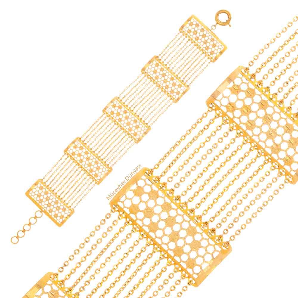 Mücevher Dünyası - 22 Ayar Desenli Özel Tasarım Altın Bileklik - 17.64 Gr.