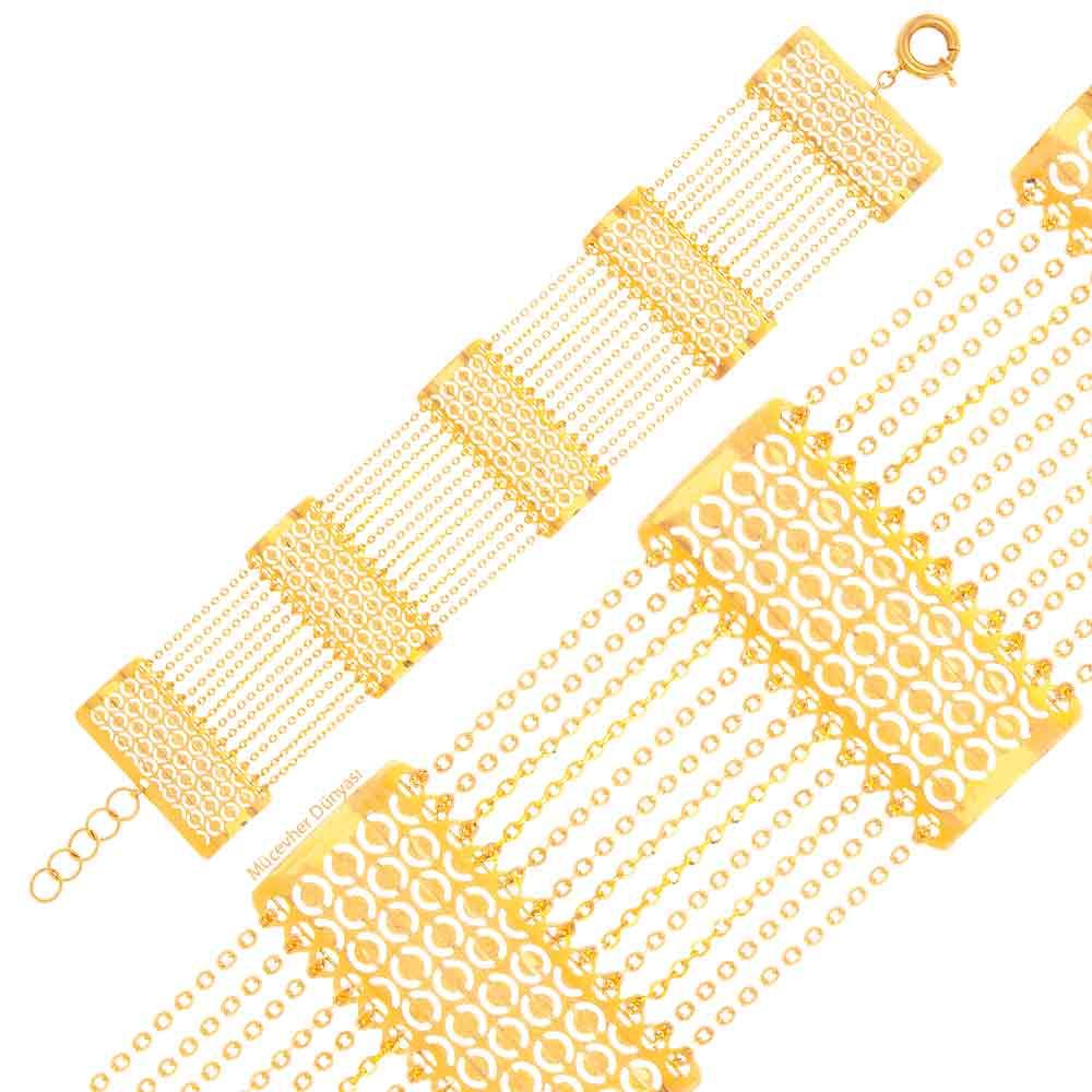 Mücevher Dünyası - 22 Ayar Desenli Özel Tasarım Altın Bileklik - 17.70 Gr.