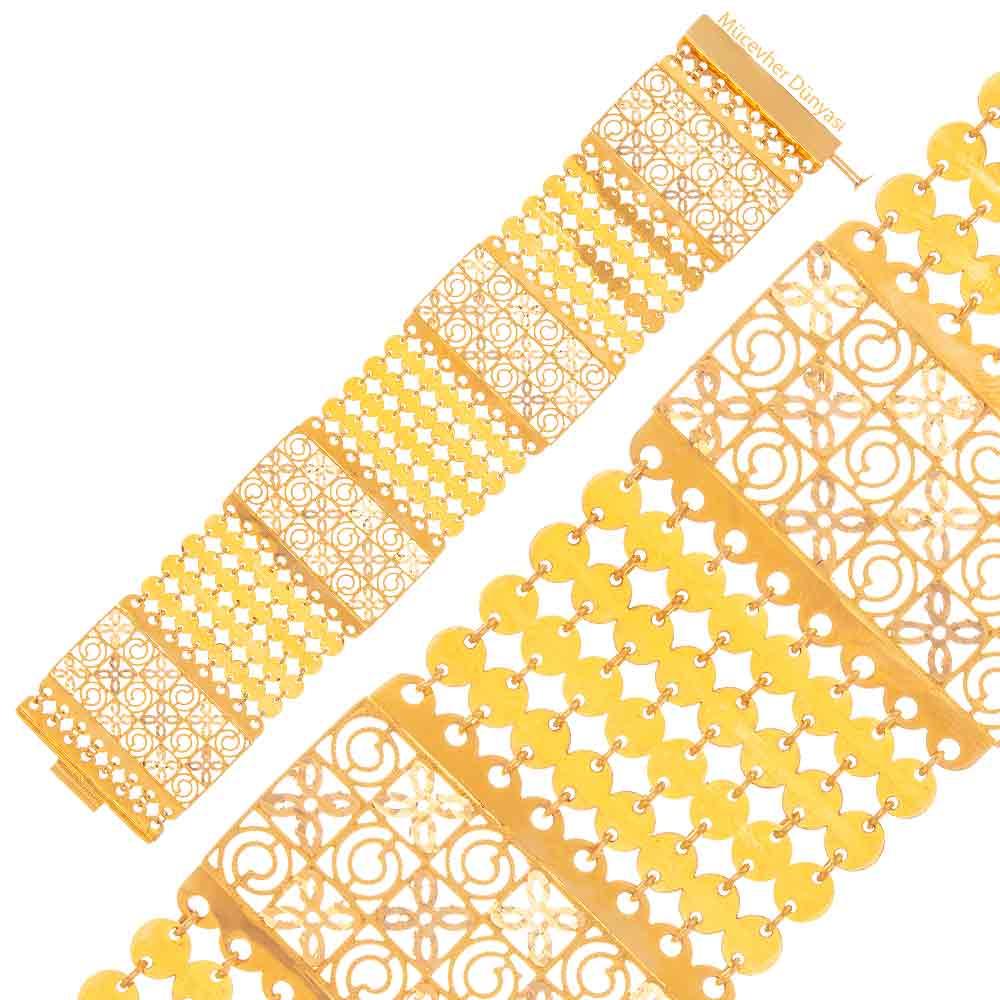 Mücevher Dünyası - 22 Ayar Desenli Özel Tasarım Altın Bileklik - 44.18 Gr.