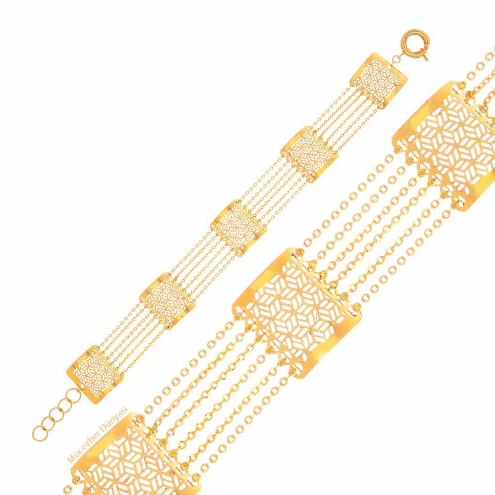 Mücevher Dünyası - 22 Ayar Desenli Özel Tasarım Altın Bileklik - 9.89 Gr.