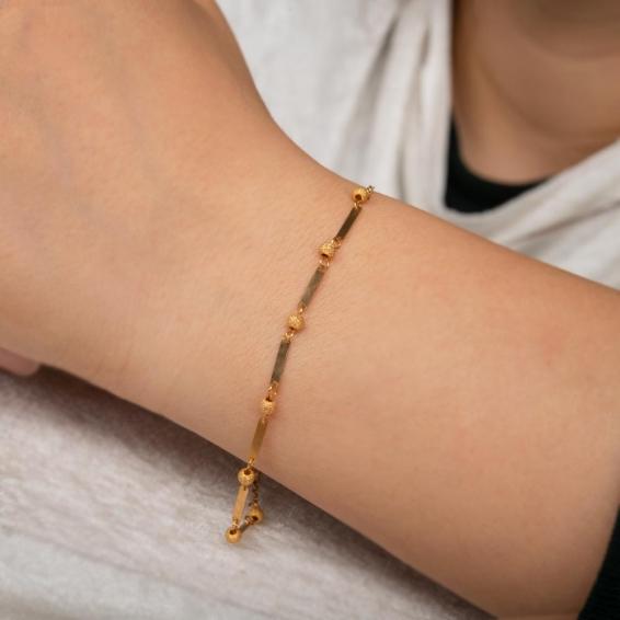 Mücevher Dünyası - 22 Ayar Dorika Altın Bileklik - 2,66 Gr. -19 Cm.