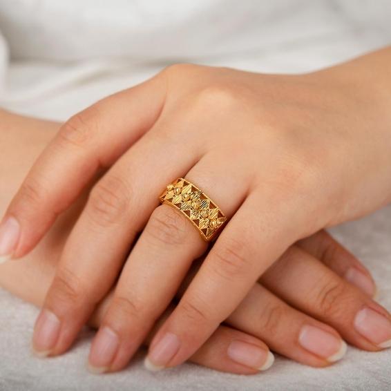 Mücevher Dünyası - 22 Ayar Dorika Altın Fantezi Yüzük - 3,87 Gr. - 16