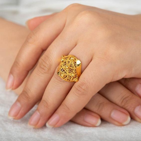 Mücevher Dünyası - 22 Ayar Dorika Altın Fantezi Yüzük - 4,42 Gr. - 17