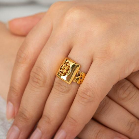 Mücevher Dünyası - 22 Ayar Dorika Altın Fantezi Yüzük - 4,59 Gr. - 17