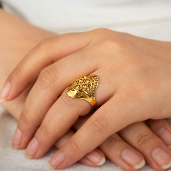Mücevher Dünyası - 22 Ayar Dorika Altın Fantezi Yüzük - 4,63 Gr. - 18