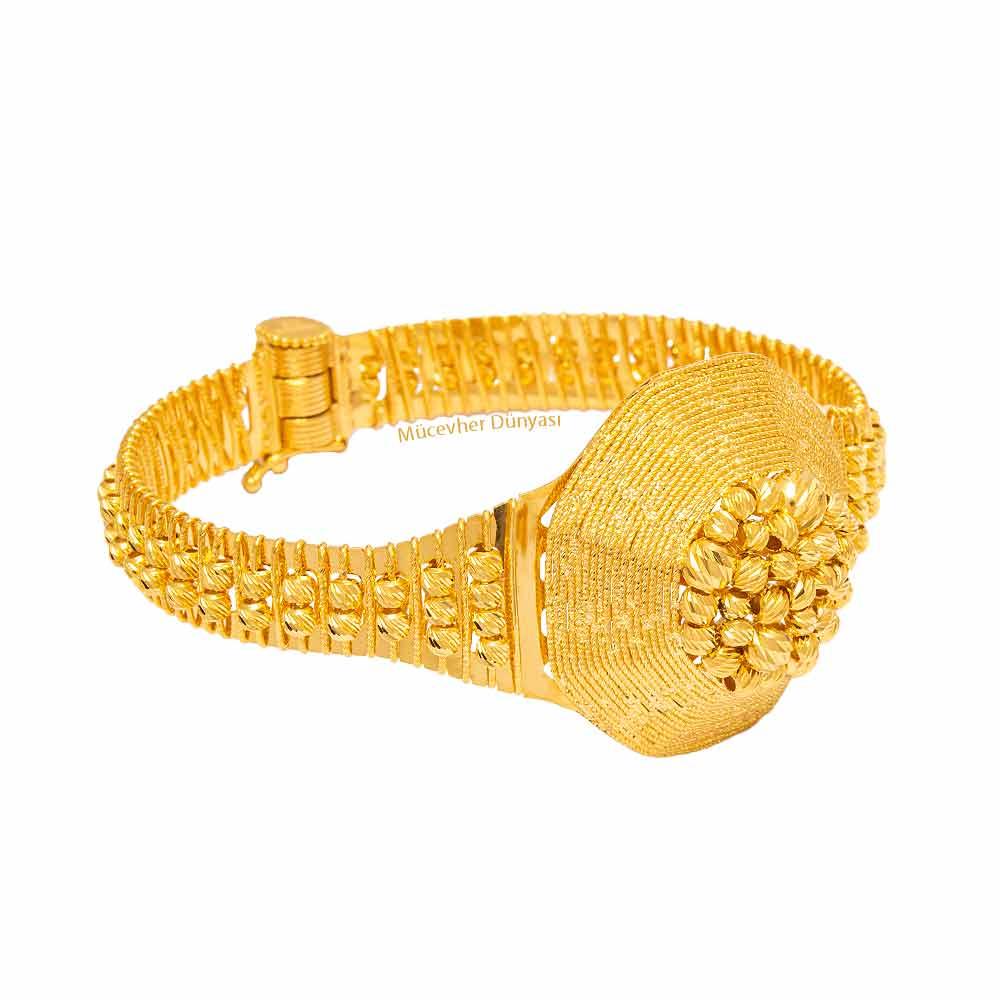Mücevher Dünyası - 22 Ayar Dorika Tasarım Altın Kelepçe - 31.10 Gr.