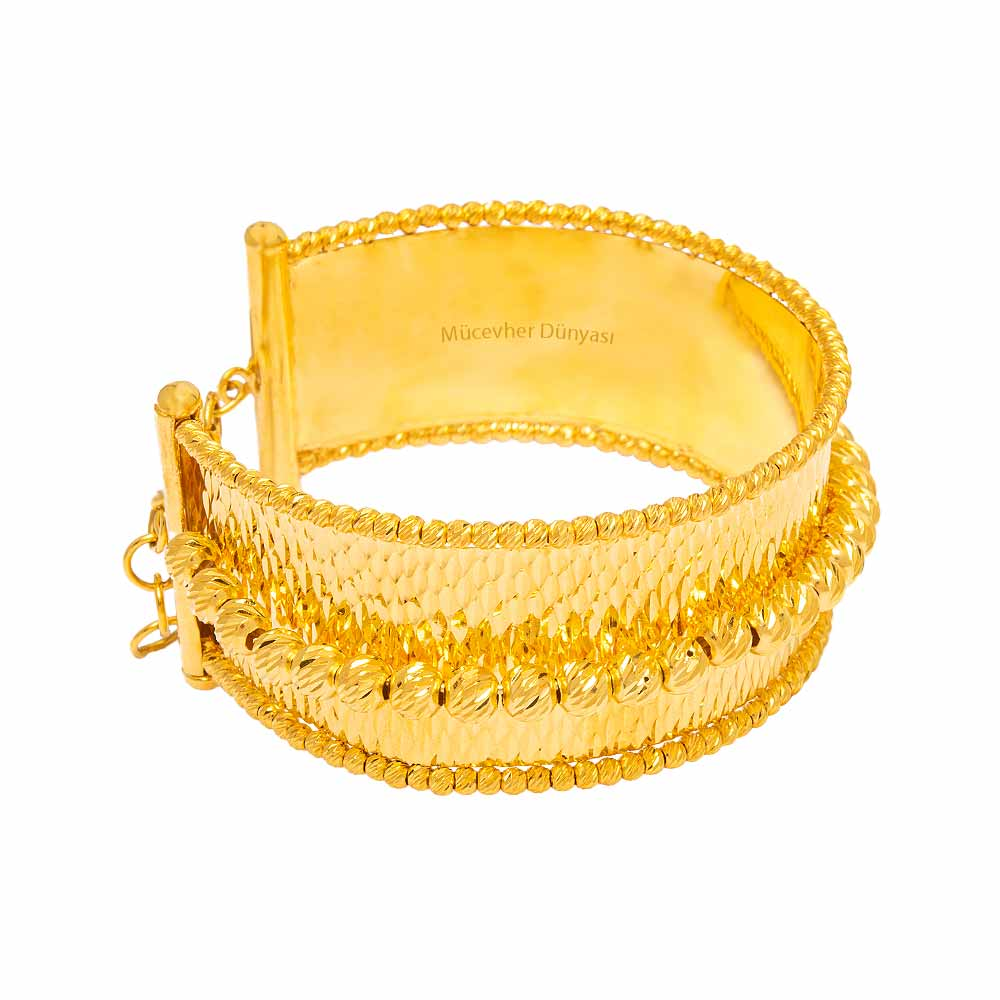 Mücevher Dünyası - 22 Ayar Dorika Tasarım Altın Kelepçe - 47,08 Gr.