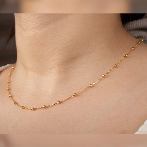 Mücevher Dünyası - 22 Ayar Dorika Toplu Altın Kolye - 3,39 Gr. - 45 Cm.