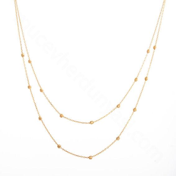 Mücevher Dünyası - 22 Ayar Dorika Toplu Altın Kolye - 3,65 Gr.