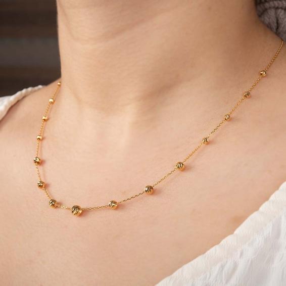 Mücevher Dünyası - 22 Ayar Dorika Toplu Altın Kolye - 3,77 Gr. - 45 Cm.