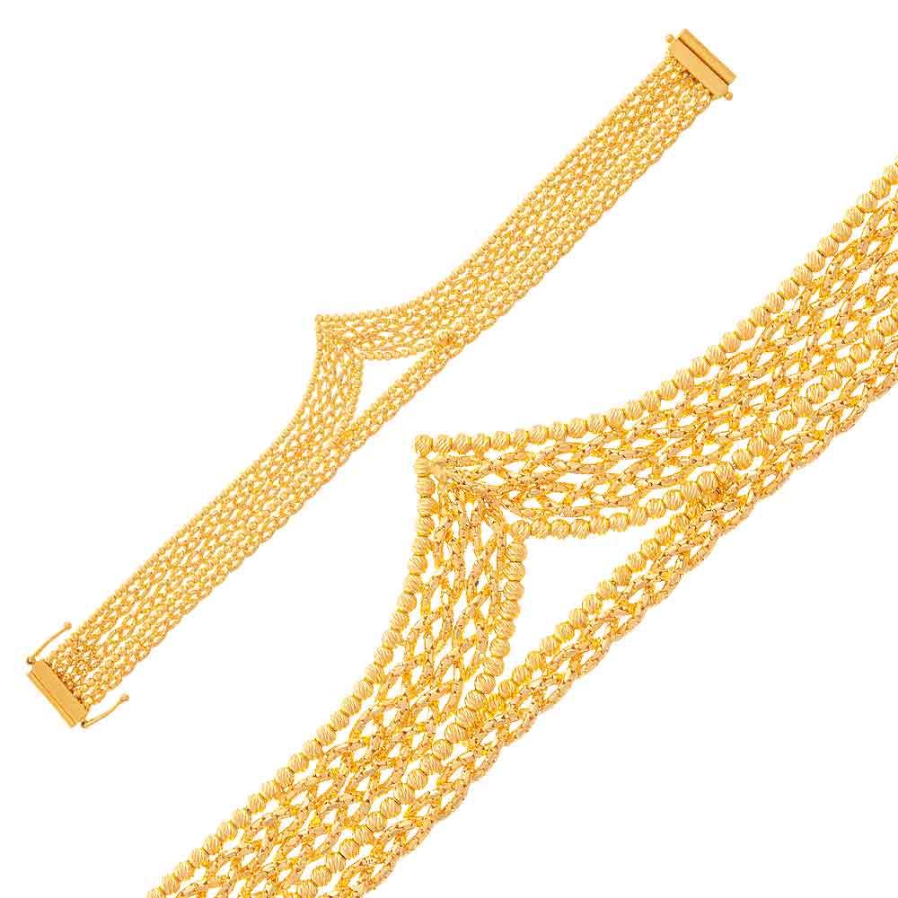 Mücevher Dünyası - 22 Ayar Dorika Toplu Desenli Altın Bileklik - 30,95 Gr.