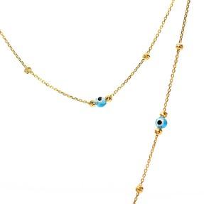 - 22 Ayar Dorika Toplu Nazar Altın Kolye | Mücevher Dünyası