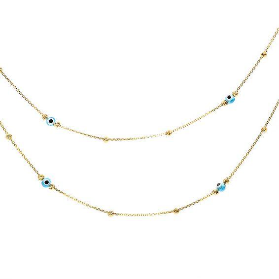22 Ayar Dorika Toplu Nazar Altın Kolye   Mücevher Dünyası