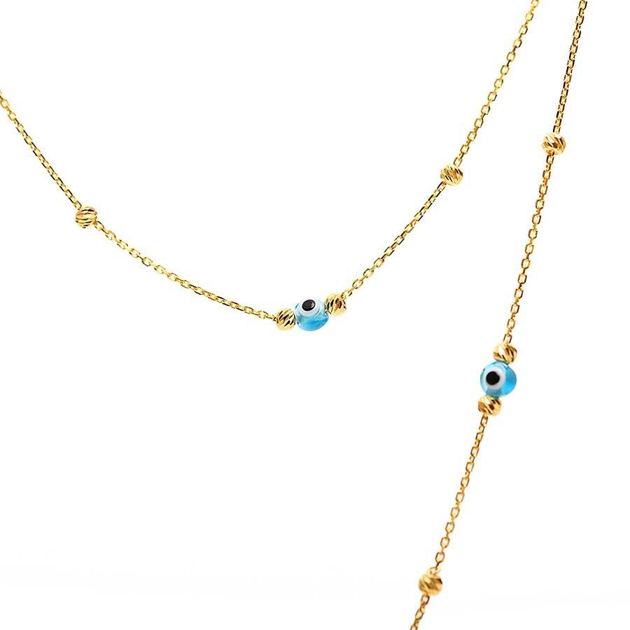 Mücevher Dünyası - 22 Ayar Dorika Toplu Nazar Altın Kolye - 5.81 Gr.