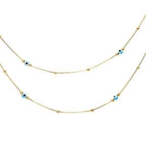 22 Ayar Dorika Toplu Nazar Altın Kolye | Mücevher Dünyası - Thumbnail