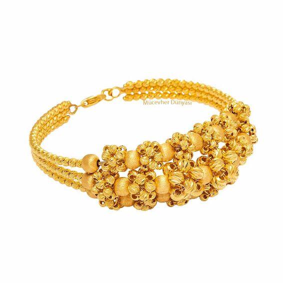 Mücevher Dünyası - 22 Ayar Dorika Toplu Tasarım Altın Kelepçe - 40,66 Gr.