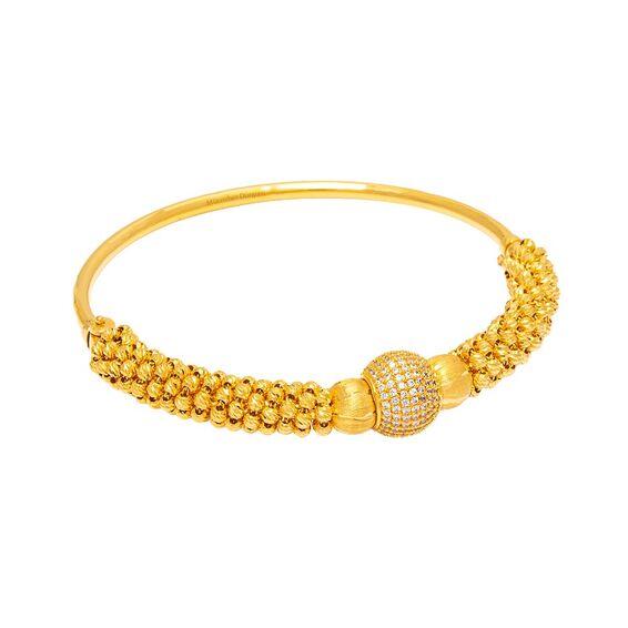 Mücevher Dünyası - 22 Ayar Dorika Toplu Taşlı Tasarım Altın Kelepçe - 26,00 Gr.