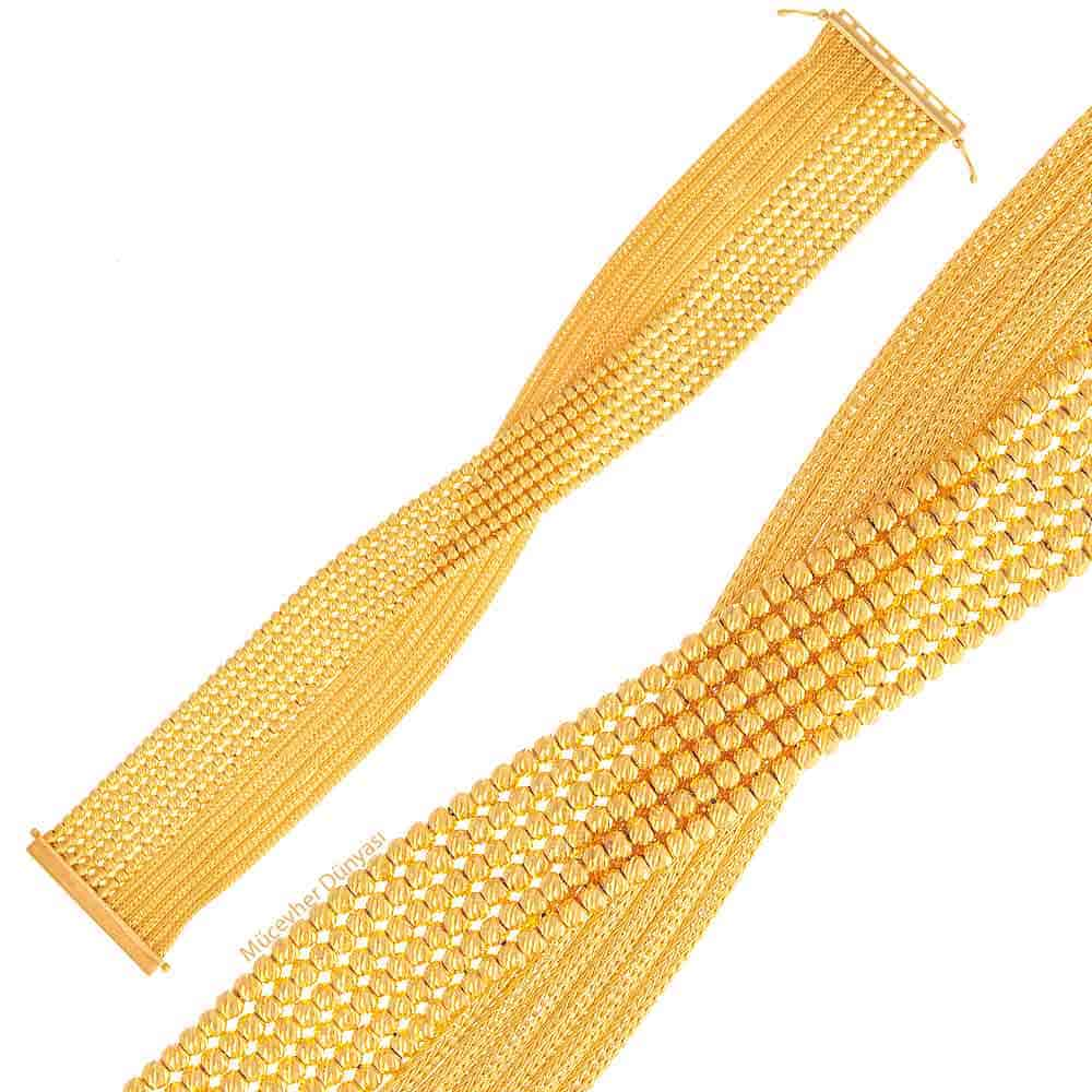 Mücevher Dünyası - 22 Ayar Dorika ve Hasır Altın Bileklik - 50,44 Gr.