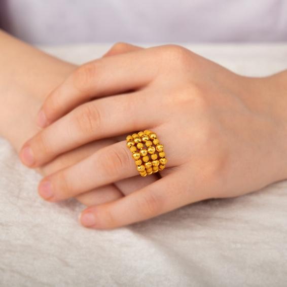 Mücevher Dünyası - 22 ayar Dorikalı Kaburga Altın Fantezi Yüzük - 8,53 Gr. - 11